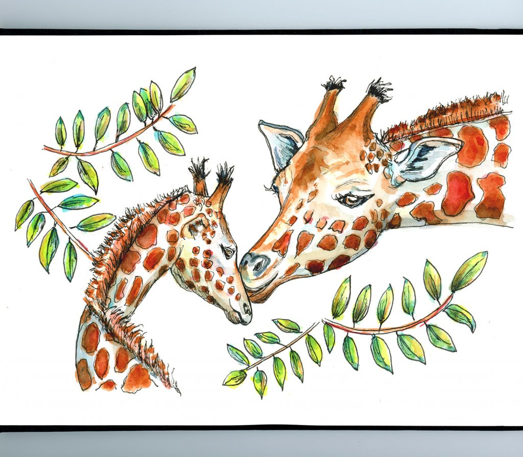Giraffe Mom And Baby Watercolor Painting Sketchbook Detail