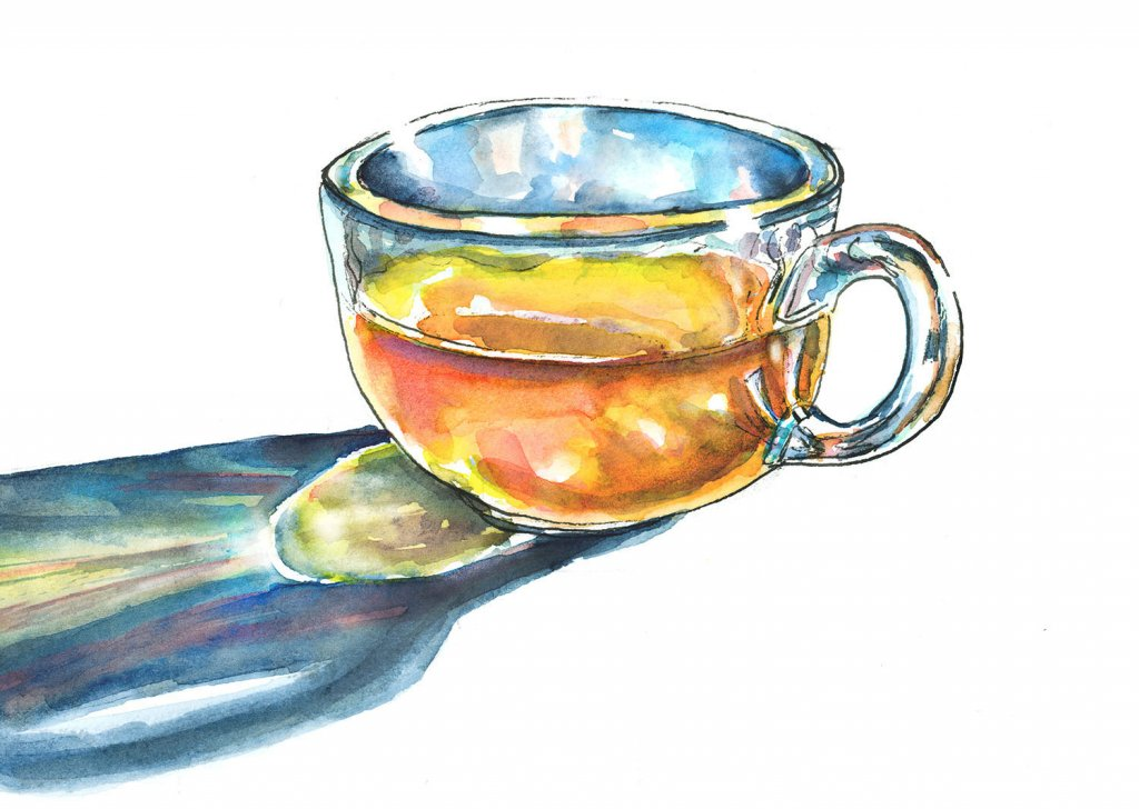 Glass Of Tea Morning Light Watercolor Painting