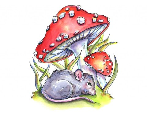 Mouse Sleeping Under Storybook Fly Agaric Mushrooms Watercolor Painting