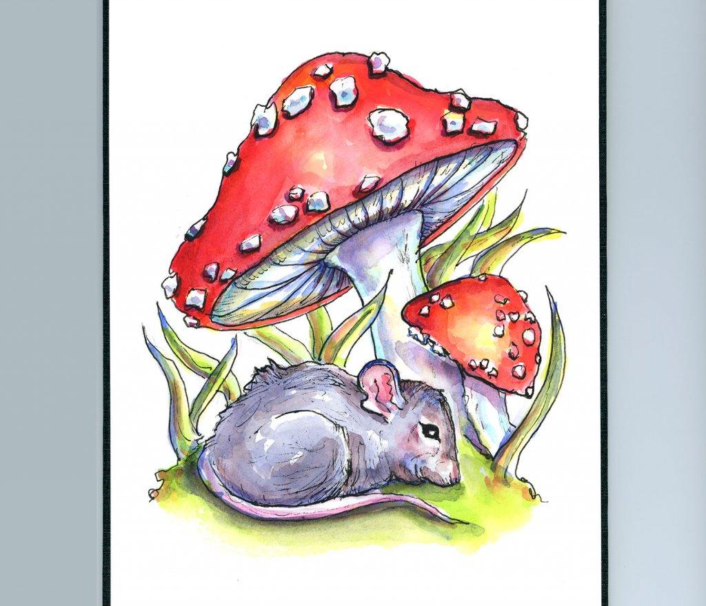 Mouse Sleeping Under Storybook Fly Agaric Mushrooms Watercolor Painting Sketchbook Detail