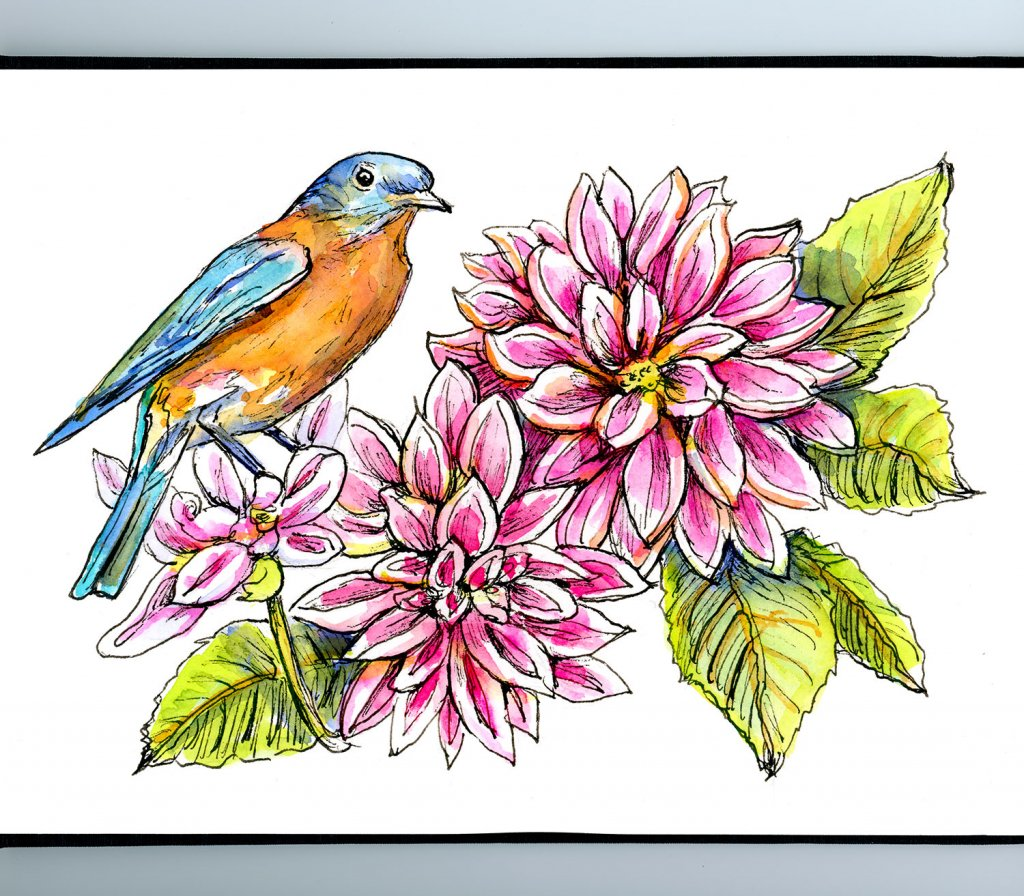 Bluebird Red And Pink Dahlia Watercolor Painting Sketchbook Detail