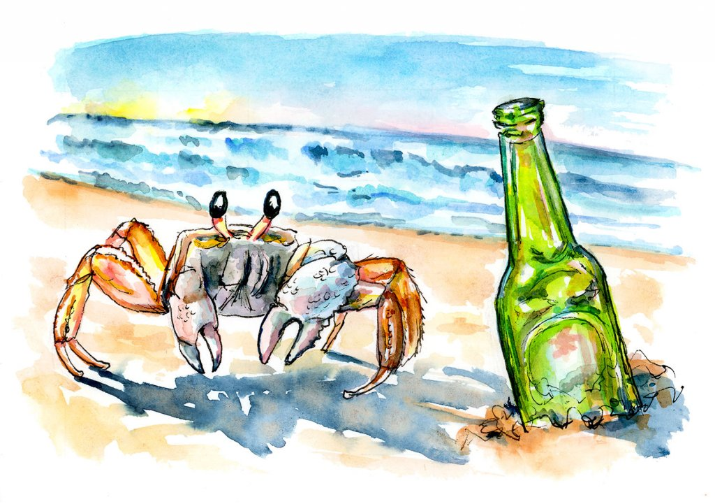 Ghost Crab On Beach Bottle Watercolor Painting