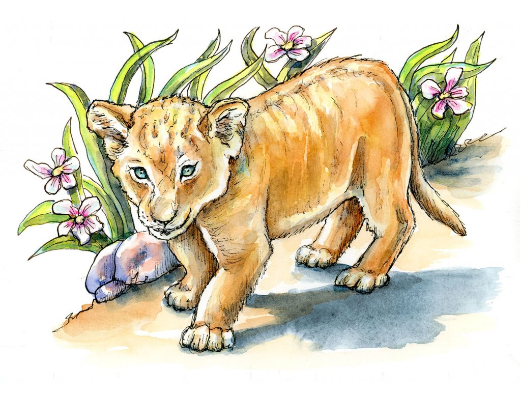 Lion Cub Grass And Flowers Watercolor Illustration