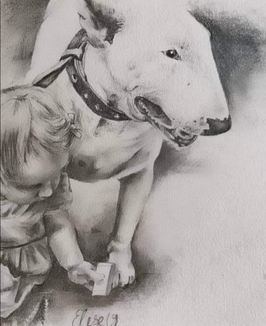 Dog And Baby Drawing