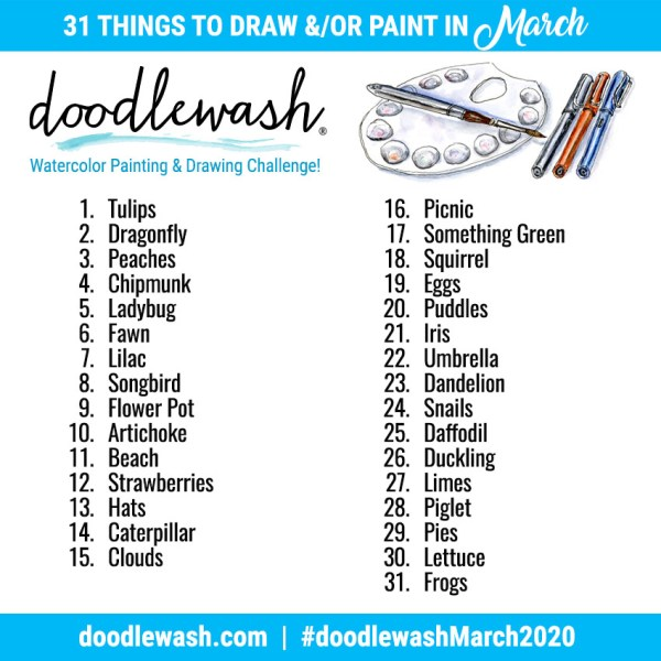 Drawing Sketching And Painting Prompts Doodlewash March 2020