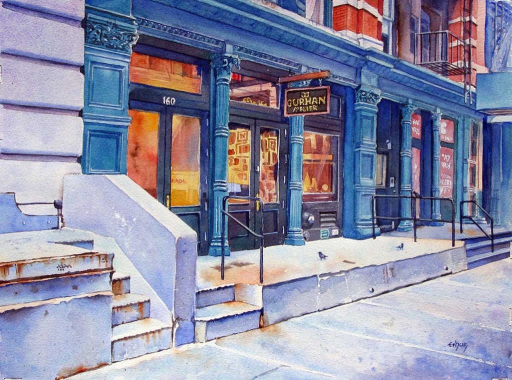 Erhan Orhan Watercolor Artist Painting of Atelier Gurhan New York City