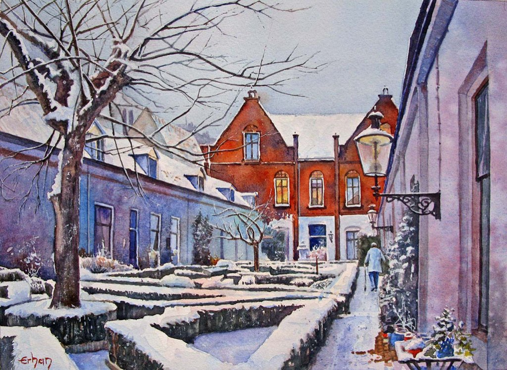 Haarlem, Holland Watercolor Painting by Erhan Orhan