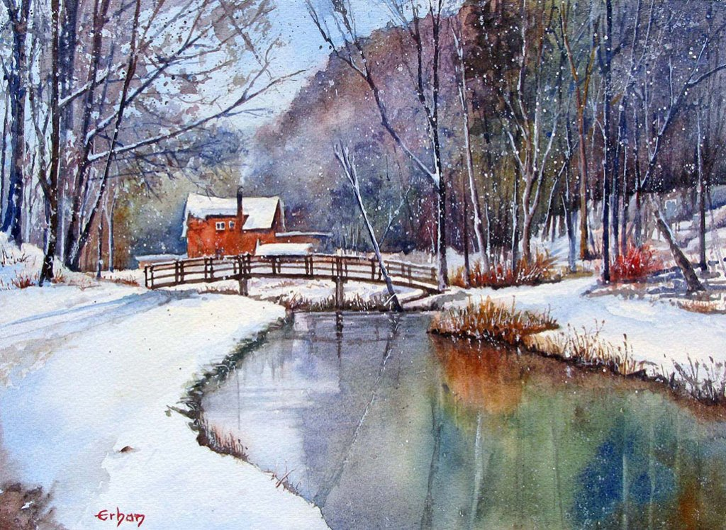 Winter Cottage Watercolor Painting