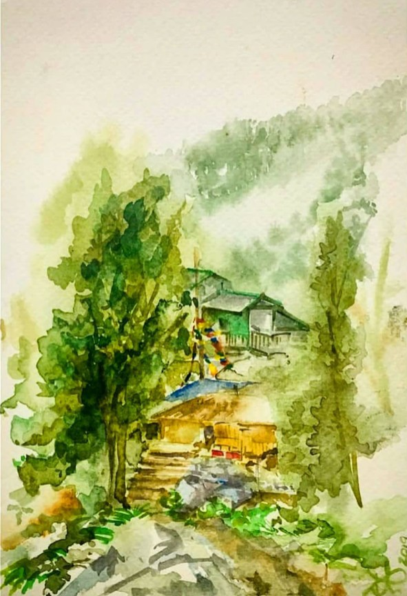 Houses Watercolor Painting Patanjali Bhati