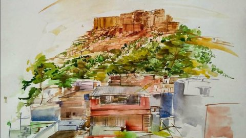 Patanjali Bhati Watercolor Painting Houses India