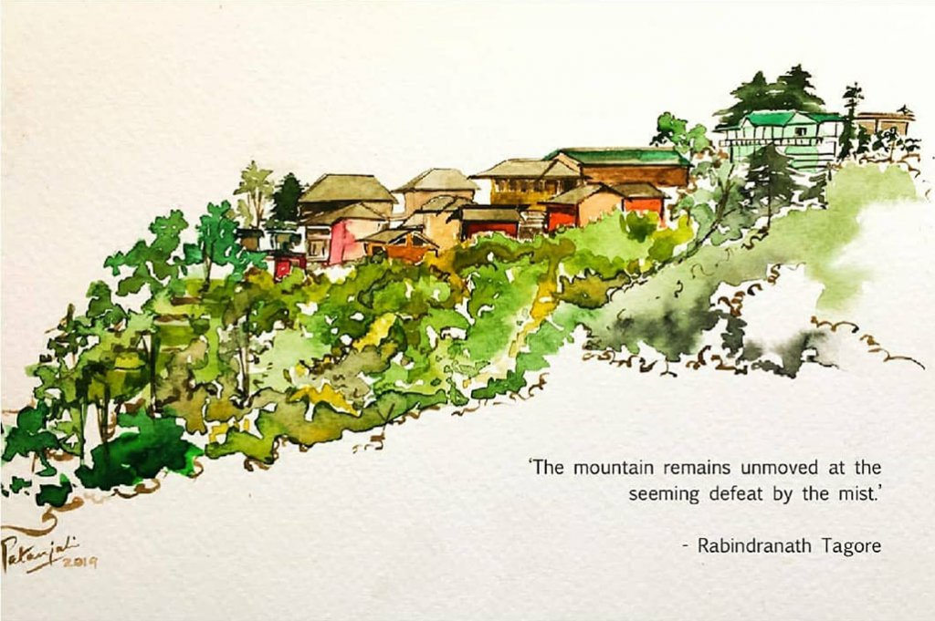 Watercolor Painting and Rabindranath Tagore Quote
