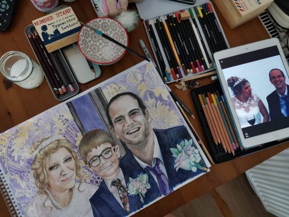 Wedding Portrait Watercolor Painting
