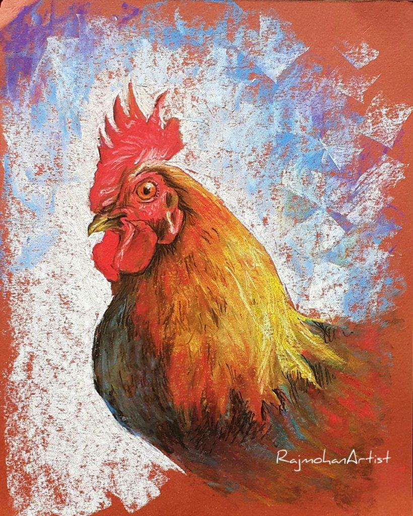Rooster using soft pastels on red board #rajmohanartist #softpastels #rooster 20200327_135955