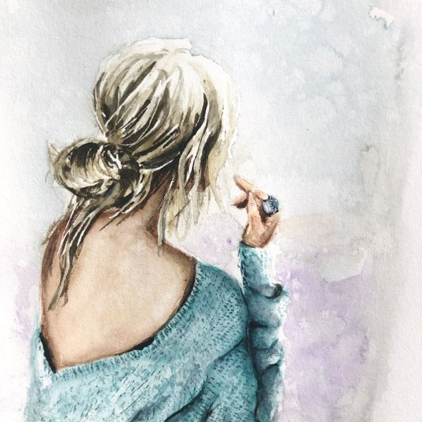 Blond Woman From Behind Painting