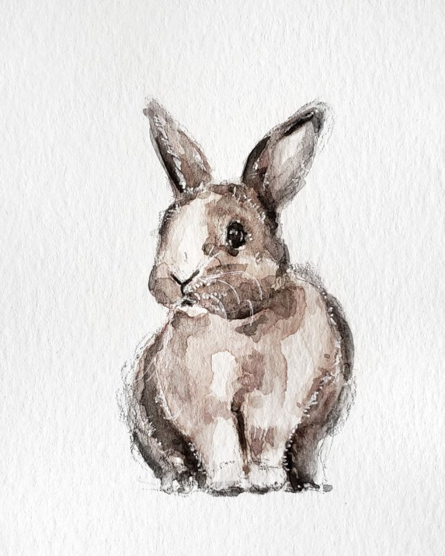 Bunny Rabbit Watercolor Painting