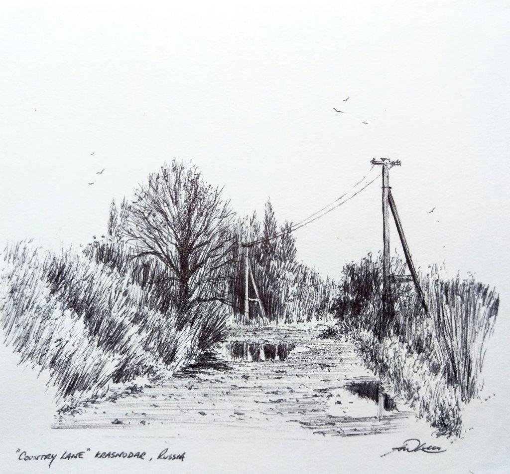 """ Country Lane "" Krasnodar, Russia. Andrew Lucas Pen sketch, 14 x 14 cm, I hope you enjo"