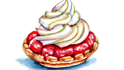 Strawberry Tart Watercolor Painting