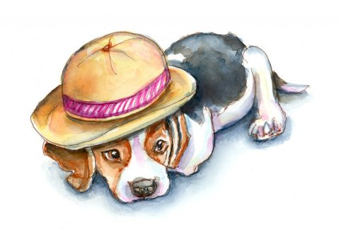 Beagle Puppy In Hat Watercolor Painting