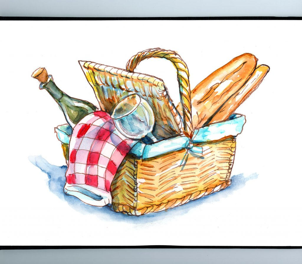 Picnic Basket Watercolor Painting Sketchbook Detail