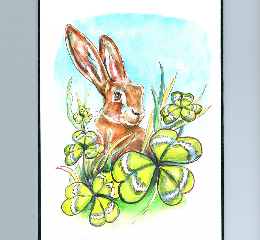 Irish Hare And Shamrocks Watercolor Painting Sketchbook Detail