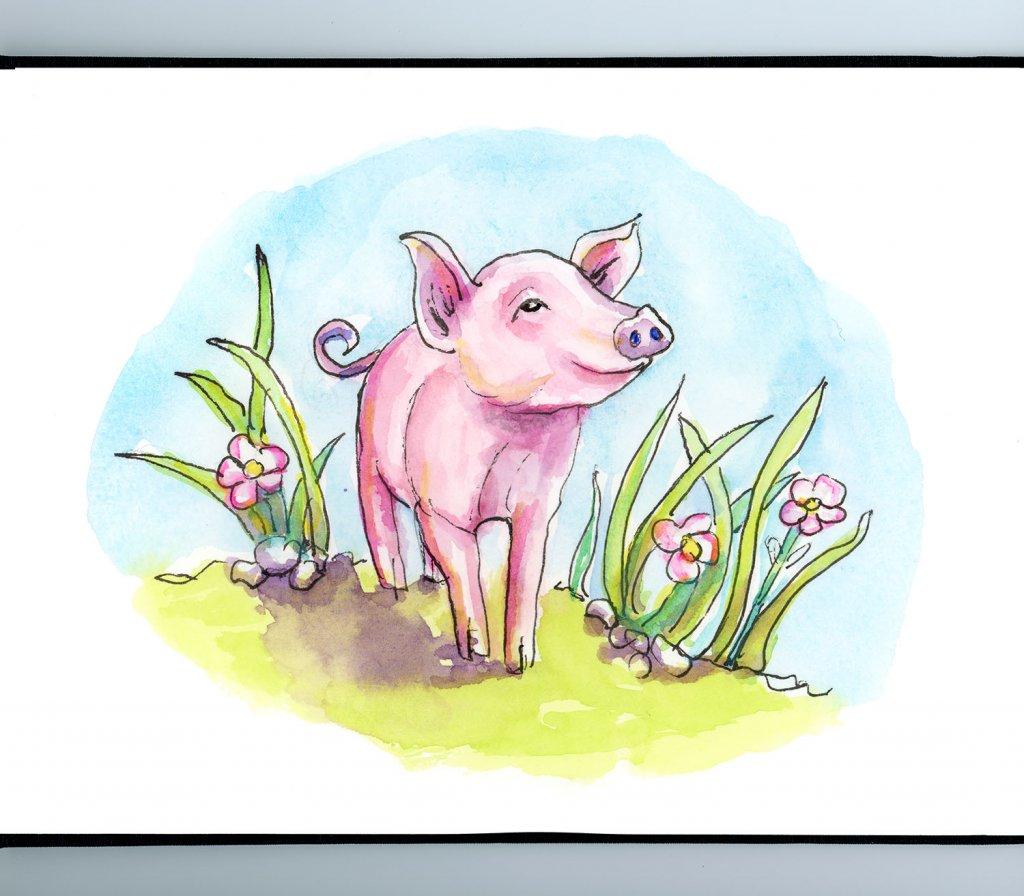 Baby Pig Piglet Spring Watercolor Painting Sketchbook Detail