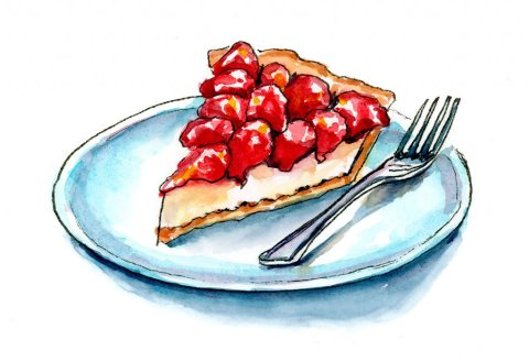 Strawberry Cheescake Pie Watercolor Painting
