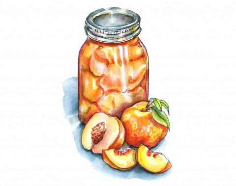 Peaches Canning Season Jar Watercolor Painting