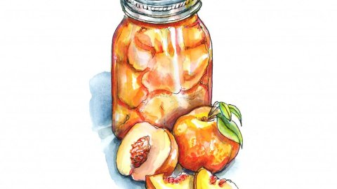 Peaches Canning Season Jar Watercolor Painting