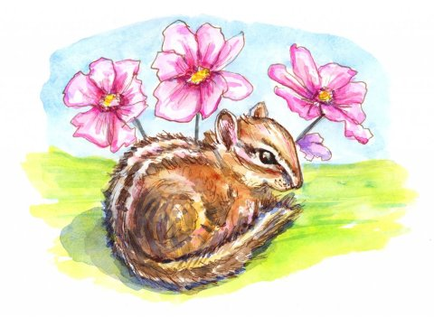 Chipmunk And Flowers Watercolor Painting