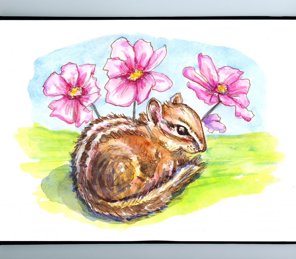 Chipmunk And Flowers Watercolor Painting Sketchbook Detail