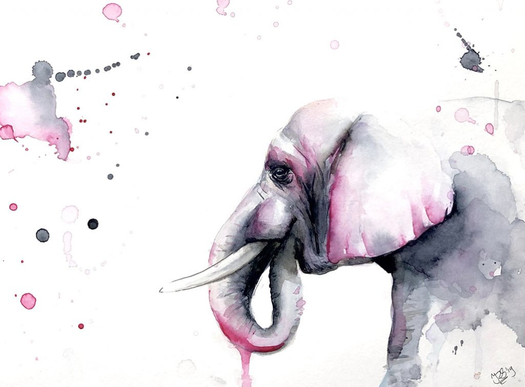 Elephant Profile Watercolor Painting by Irma Rianne