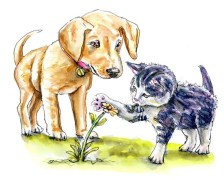Kitten And Puppy Watercolor
