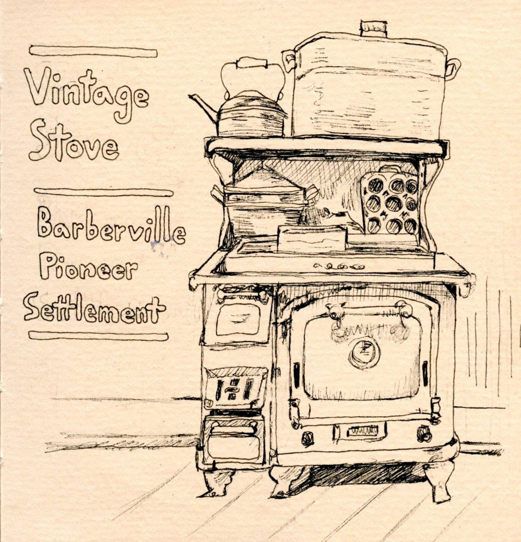 Ink on Toned Watercolour paper Vintage Stove