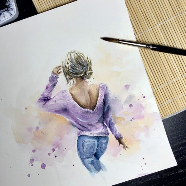 Woman From Behind Watercolor Painting by Irma Rianne