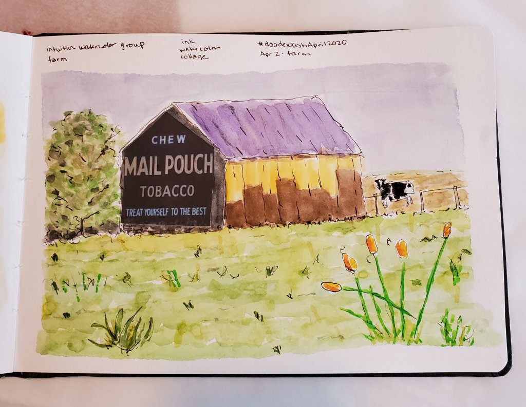 #DoodlewashApril2020 #Doodlewash #worldwatercolorgroup April 2– Farm 2020-04.02-farm