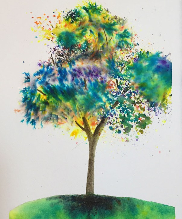 Colorful Tree Watercolor Painting