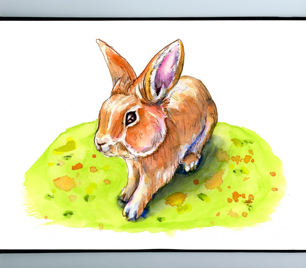 Easter Bunny Day Spring Watercolor Illustration Sketchbook Detail