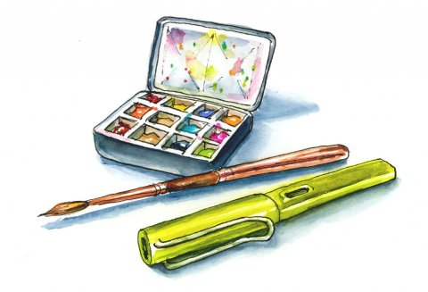 Watercolor Art Supplies Line Wash Illustration