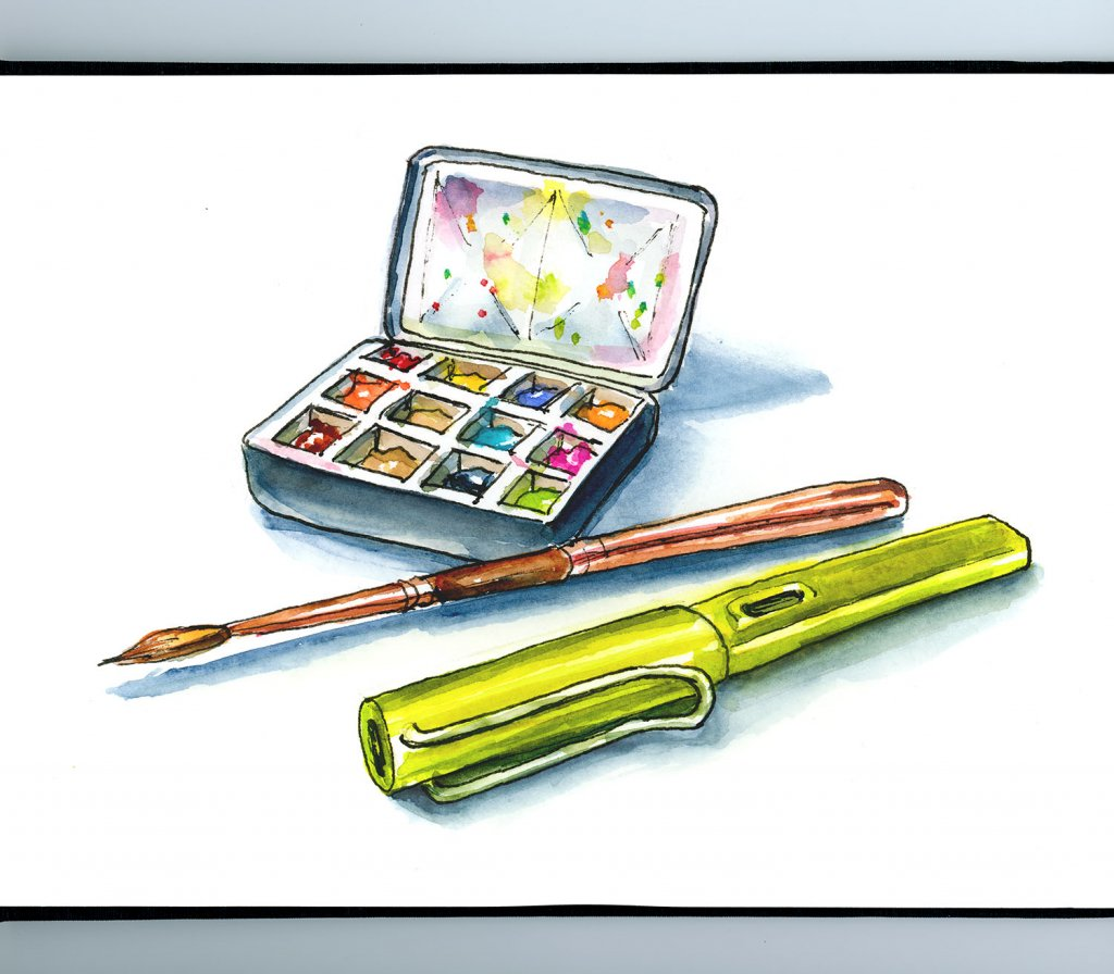 Watercolor Art Supplies Line Wash Illustration Sketchbook Detail
