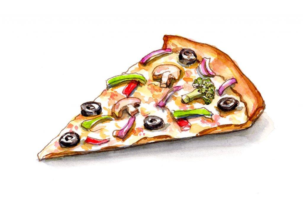 Pizza Slice Veggie Vegetable Watercolor Illustration