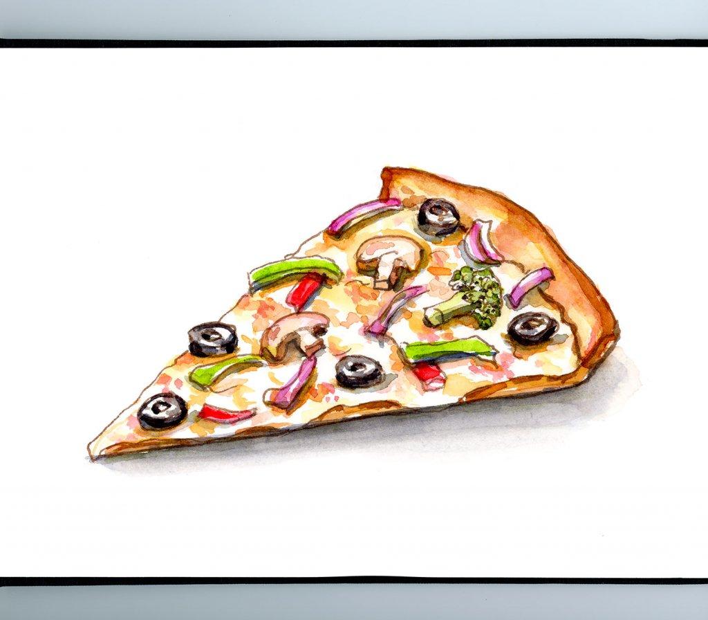 Pizza Slice Veggie Vegetable Watercolor Illustration Sketchbook Detail