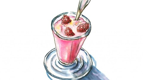 Strawberry Raspberry Drink Glass Watercolor Illustration
