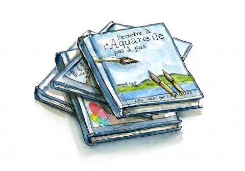 Souvenirs Art Books Paris France Watercolor Illustration