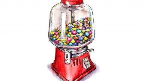 Candy Dispenser Gumball Hard Candy Watercolor Illustration
