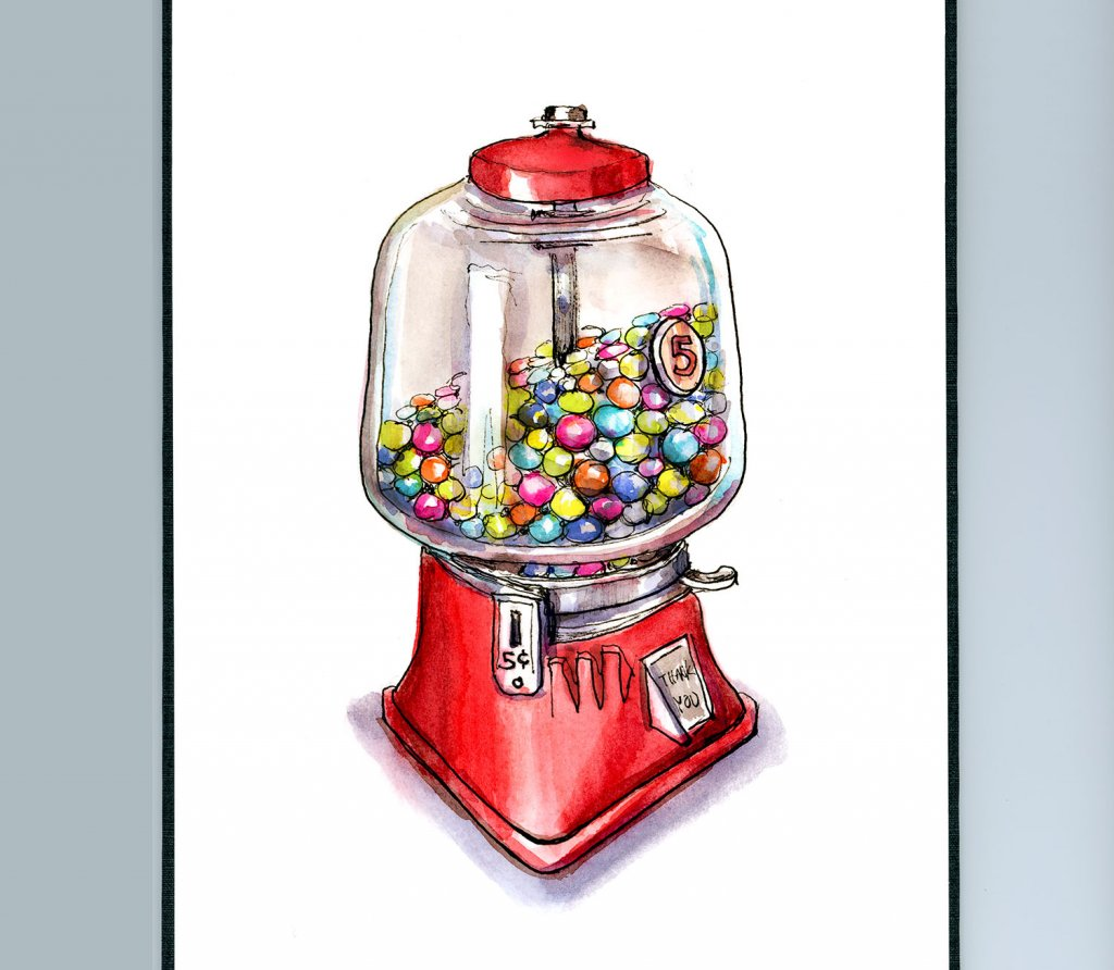 Candy Dispenser Gumball Hard Candy Watercolor Illustration Sketchbook Detail