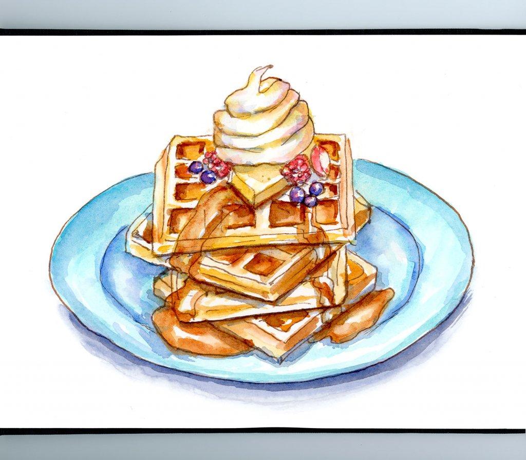 Stack Of Waffles Watercolor Illustration Sketchbook Detail