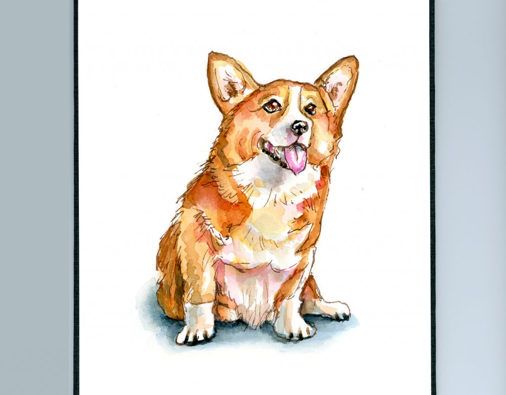 Corgi Dog Puppy Watercolor Painting Sketchbook Detail