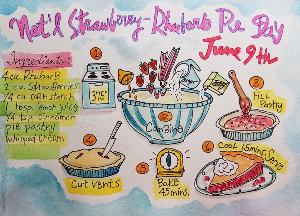 National Strawberry Rhubarb Pie Day June 9th Illustration by Tina Folks