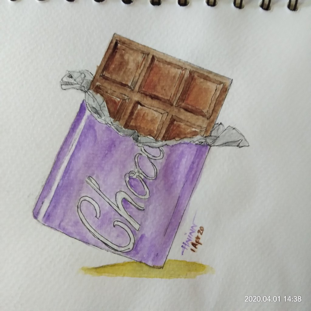 #doodlewashApril2020 #WorldWatercolorGroup #Beginner #1 #chocolate #1Apr2020 IMG_20200401_143806