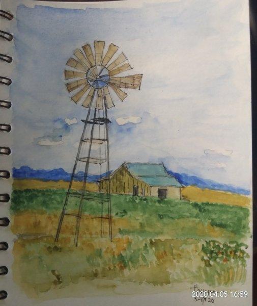 #doodlewashApril2020 #WorldWatercolorGroup #Beginner #4+5 #ocean+windmill #5Apr2020 IMG_20200405_165